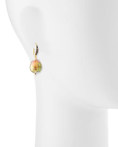 Natural Baroque Pearl & Sapphire Drop Earrings