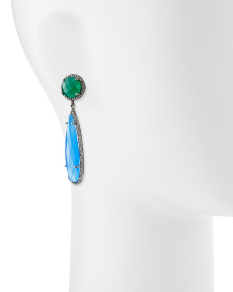 Green Onyx & Chalcedony Drop Earrings