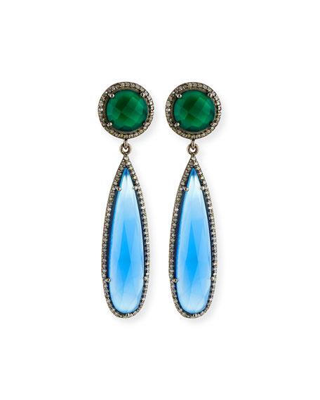 Siena Jewelry Green Onyx & Chalcedony Drop Earrings