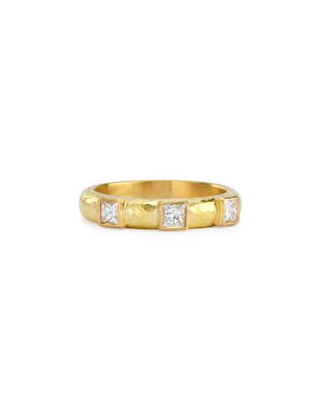 Elizabeth Locke 19k Gold & Square Diamond Stack Ring, Size 6.5