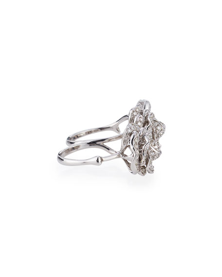 Garden Rose & Leaf Diamond Double-Finger Ring