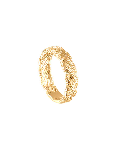 Classic Chain Twisted 18k Gold Ring, Size 7