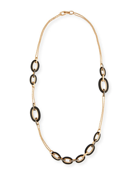 POMELLATO Victoria 18k Rose Gold Black Diamond Link Necklace YZOxRyYkF