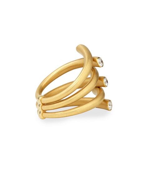 18k Multi-Row Ring with Diamonds, Size 6.5
