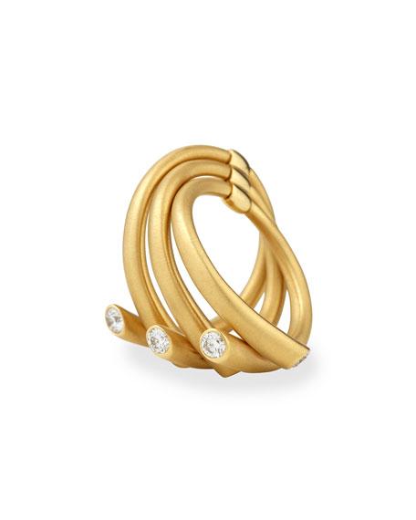 18k Multi-Row Ring with Diamonds