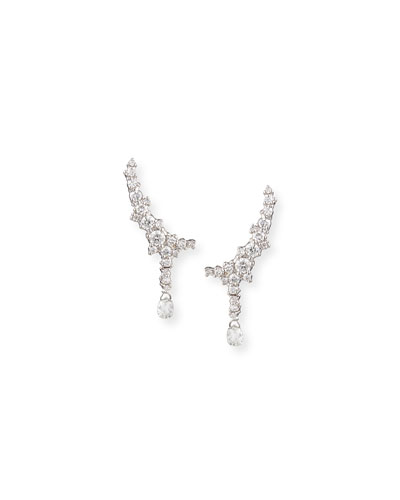 18k White Gold Confetti Diamond Climber Earrings