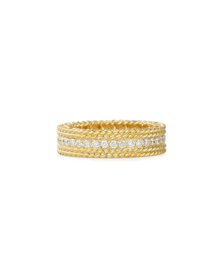 Roberto Coin Princess 18k Gold Petite Ring with Diamonds, Size 6.5