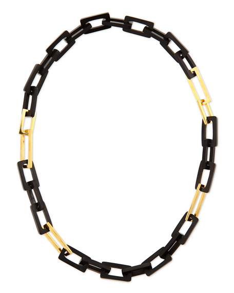 Maiyet Horn and Gold-Plated Medium Link Necklace, 32