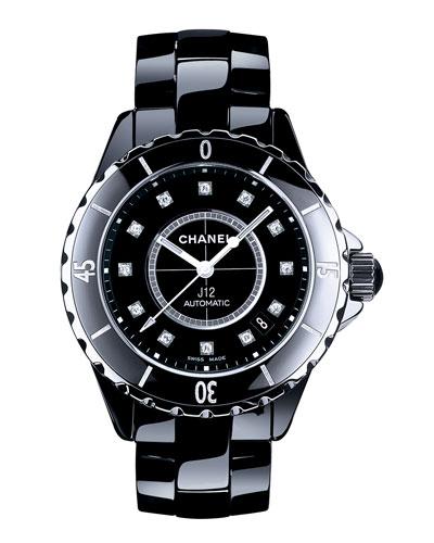 J12 Black 38MM Ceramic Watch with Diamonds