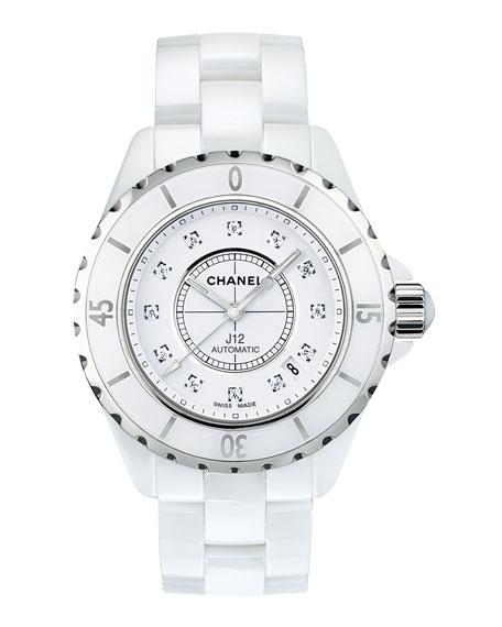 CHANEL J12 White 38MM Ceramic Watch with Diamonds