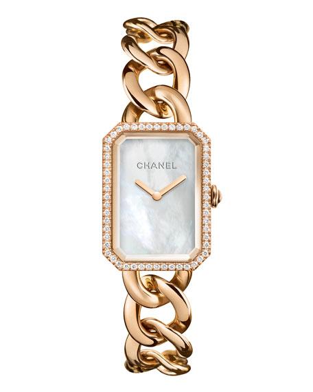 CHANEL PREMIÈRE 18K Beige Gold Chain Watch, Large Size