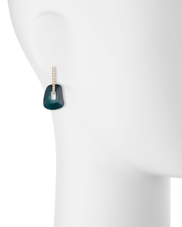Mattioli Puzzle Diamond-Trimmed 18K Rose Hoop Earrings, Blue/Black/White