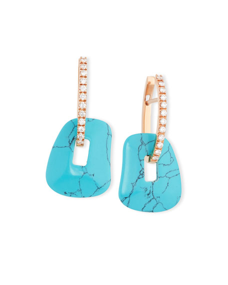 Puzzle Diamond-Trimmed 18K Rose Hoop Earrings, Turquoise/Black/White