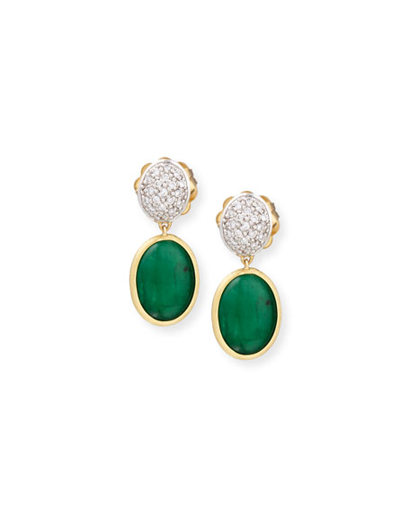 Marco Bicego 18K Gold Diamond & Emerald Cabochon Earrings