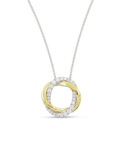 18K Gold Interlocking Halo Diamond Pendant Necklace