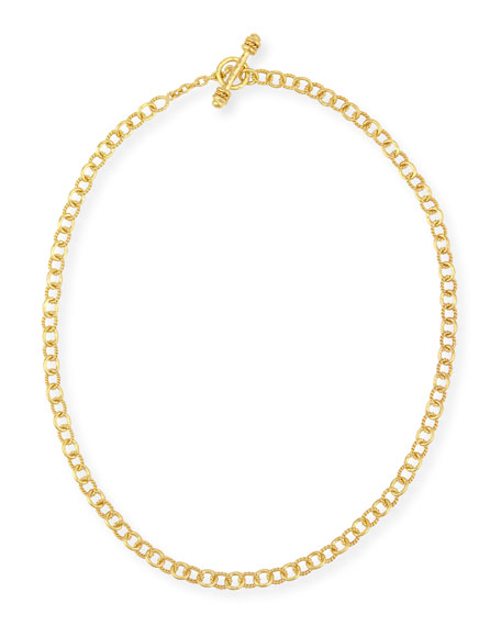 Tiny Sicilian 19K Gold Link Necklace, 18""
