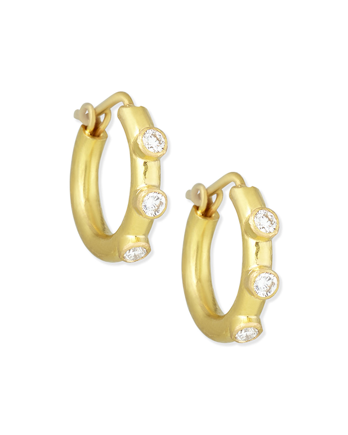 19k Baby Diamond Hoop Earrings