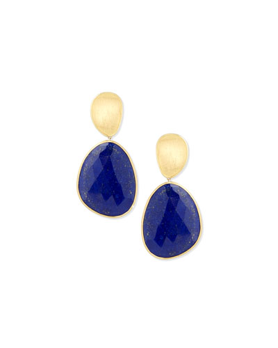 18K Lunaria Lapis Drop Earrings