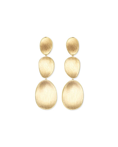 18K Lunaria Triple-Drop Earrings