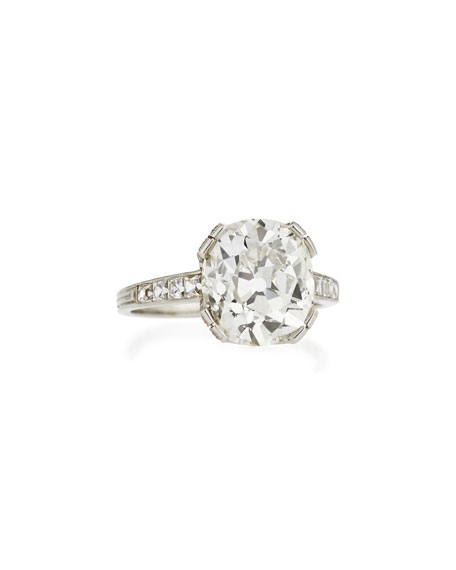 Estate Edwardian Diamond Cushion Engagement Ring, Size 6