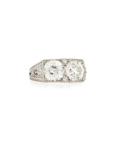 Estate Art Deco Two-Stone Diamond Ring  Size 7