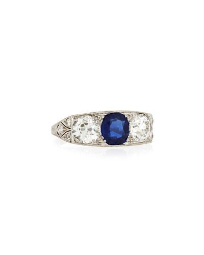 Estate Edwardian Three-Stone Sapphire & Diamond Ring  Size 5.5