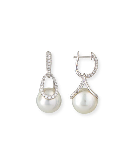 Belpearl Avenue 18K White Gold South Sea Pearl & Diamond Earrings