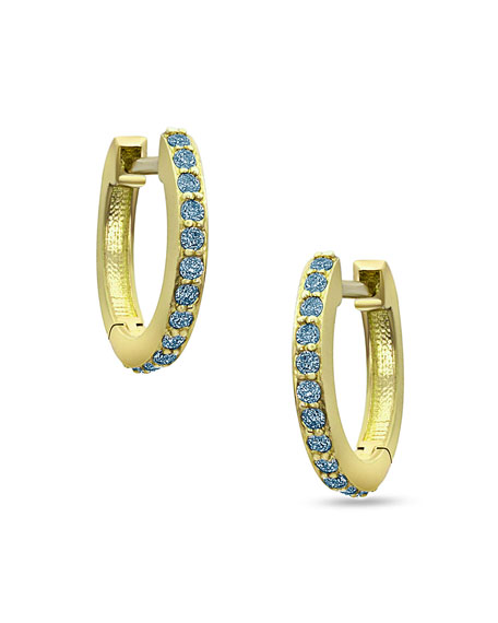 Image 1 of 2: Dominique Cohen 18k Yellow Gold Blue Diamond Huggie Hoop Earrings