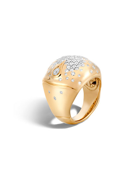 John Hardy Bamboo 18k Gold Diamond Dome Ring,
