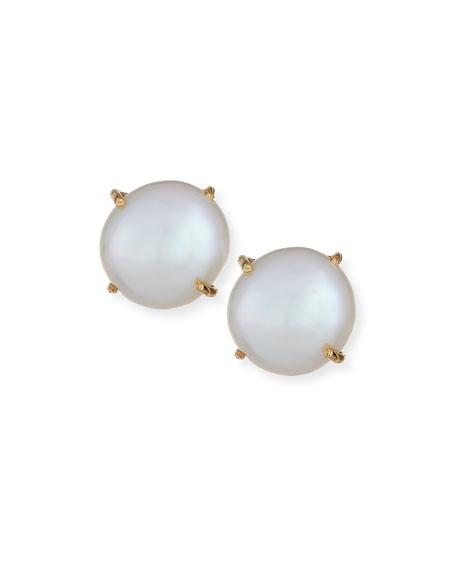 Prong-Set Pearl Stud Earrings