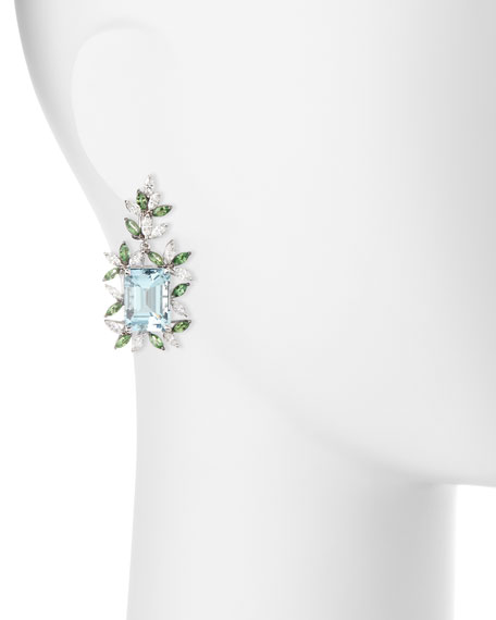 Alexander Laut 18K White Gold Tsavorite & Aquamarine Earrings with Diamonds JEXRN