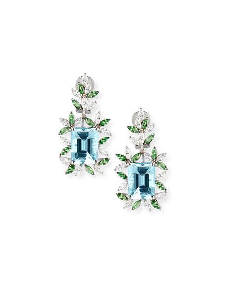 18K White Gold Tsavorite & Aquamarine Earrings with Diamonds