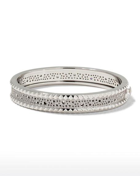 Roberto Coin ROBERTO COIN ROCK & DIAMONDS Slim 18K White Gold Bangle Bracelet
