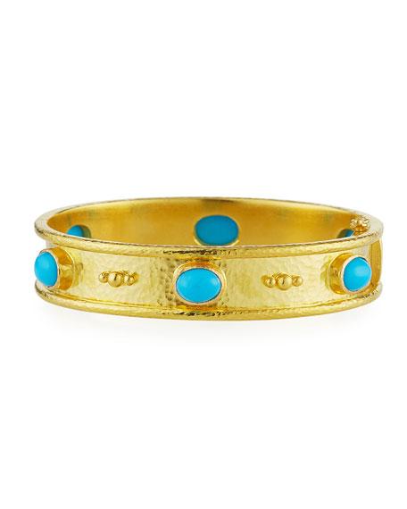 19K Gold Turquoise Cabochon Bangle