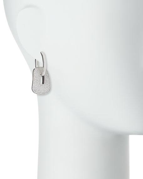 18K White Gold Puzzle Diamond Hoop Earrings