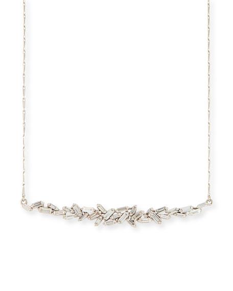 Suzanne Kalan 18K White Gold Diamond Baguette Necklace,