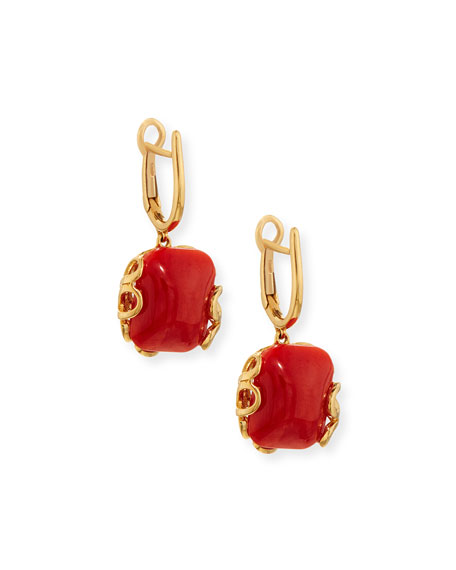 Sea Leaf 18K Gold & Coral Earrings