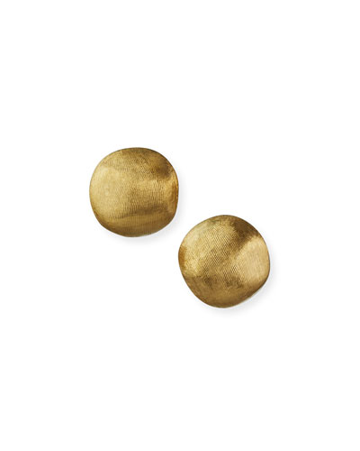 Africa Textured Gold Stud Earrings  Small
