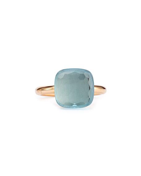 Pomellato Nudo Rose Gold & Blue Topaz Grande Ring, Size 54