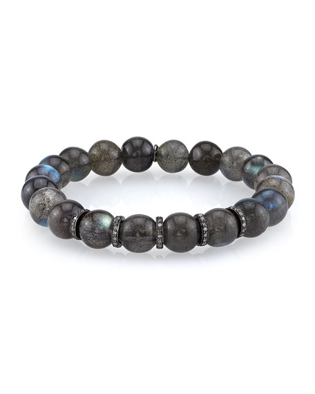 Sheryl Lowe 10mm Labradorite Beaded Bracelet with Diamond