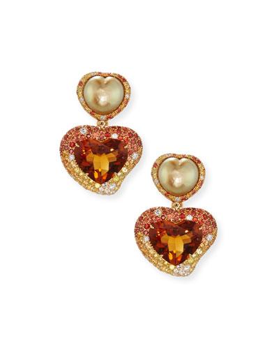 Hearts Desire South Sea Pearl & Madeira Citrine Drop Earrings