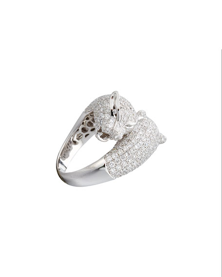 18K White Gold Panther Bypass Ring with Diamonds, Size 6.5