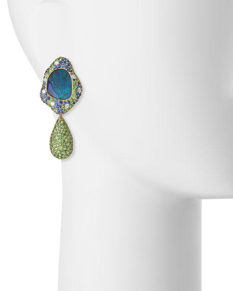 18K Gold Opal Drop Earrings with Diamond, Sapphire & Tsavorite