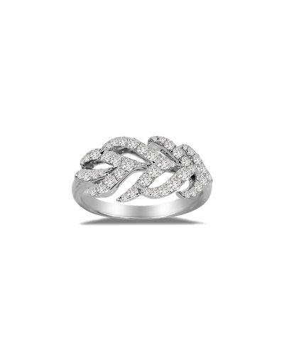 18K White Gold & Diamond Feather Ring, Size 7