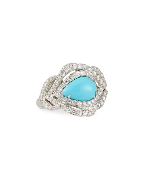 18K White Gold & Turquoise Cabochon Ring with Diamonds, Size 7