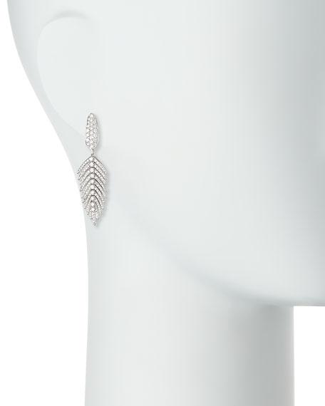 SUTRA 18K White Gold & Diamond Feather Drop Earrings