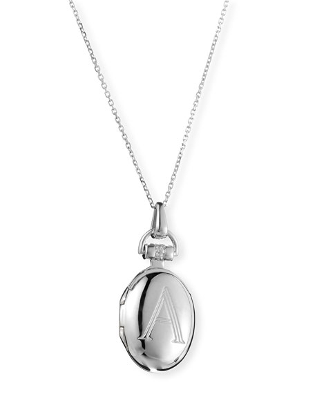 Petite Sterling Silver Initial A Locket Necklace