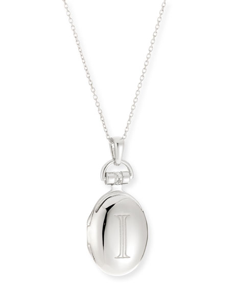 "Petite Sterling Silver Initial ""I"" Locket Necklace"