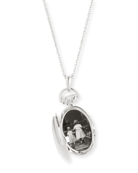 """Petite Sterling Silver Initial """"O"""" Locket Necklace"""