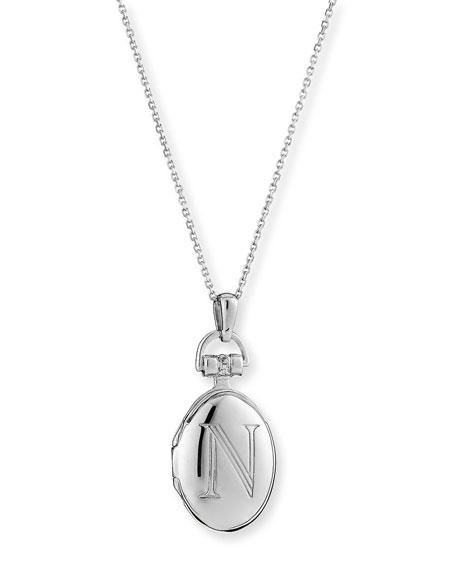 "Petite Sterling Silver Initial ""N"" Locket Necklace"